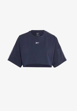 VECTOR VELOUR SHORT SLEEVE CROP TOP - T-shirts med print - blue