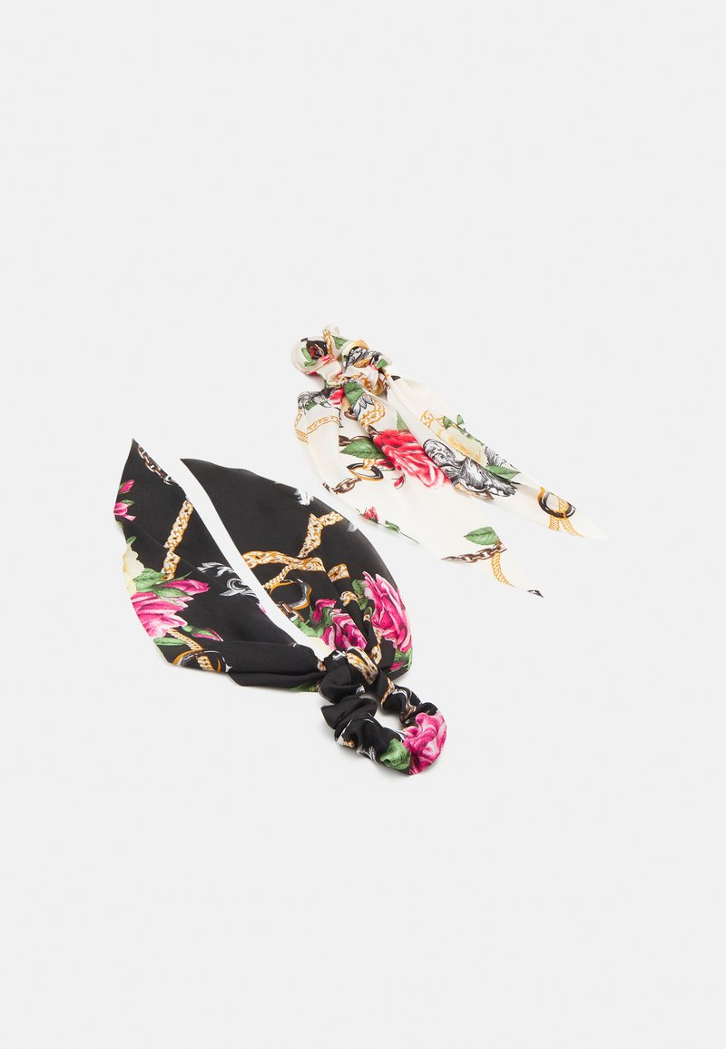Pieces - PCANJULIA BOW SCRUNCHIE 2 PACK - Hair styling accessory - black/multi-coloured