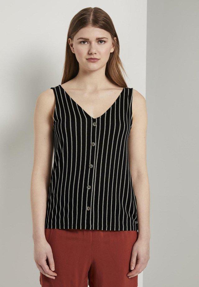 MIT KNOPFLEISTE - Bluzka - black white stripe
