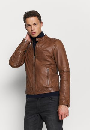 FREDERIC - Leather jacket - cognac