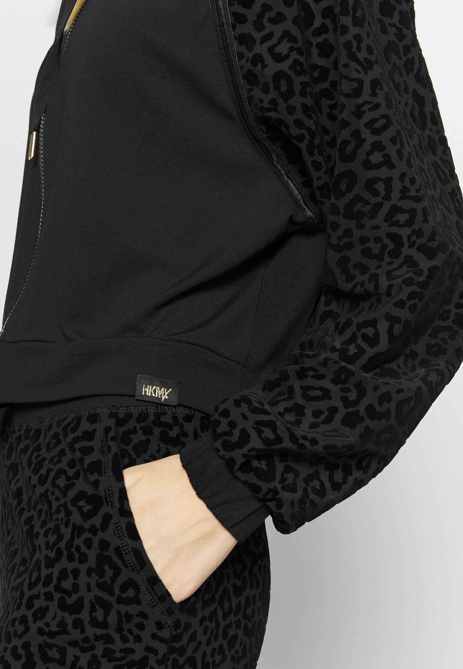 Hunkemöller LEOPARD LOOSE JACKET - Training jacket - black xgUoK
