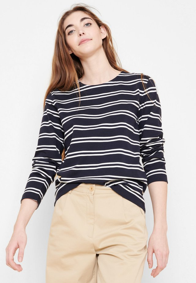 TOLAM - T-shirt à manches longues - bleu marine blanc