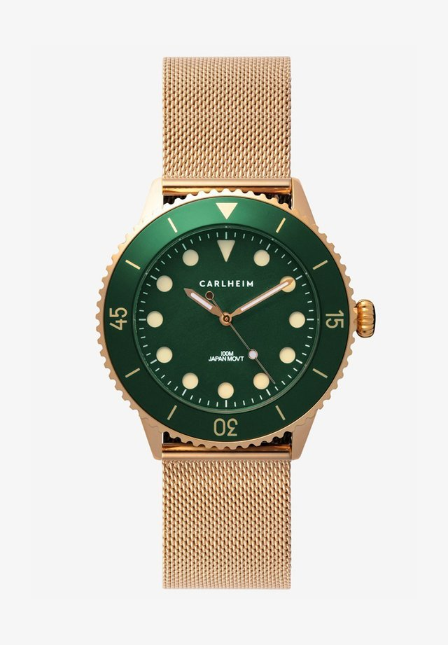 DIVER 40MM MESH - Horloge - rose gold-green