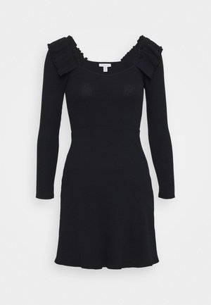 FRILL SKATER DRESS - Pletené šaty - black