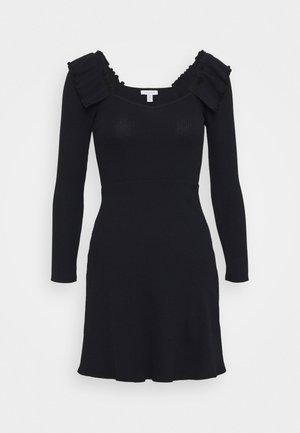 FRILL SKATER DRESS - Sukienka dzianinowa - black