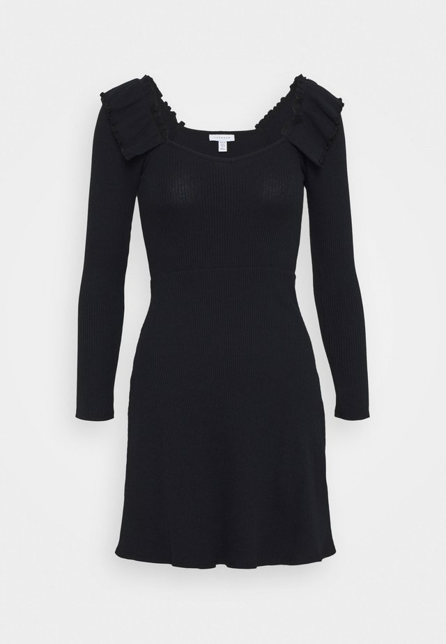 FRILL SKATER DRESS - Sukienka dzianinowa - black