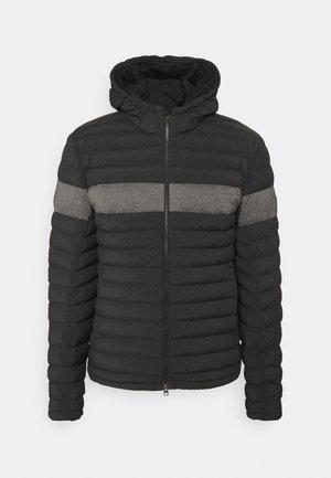 HOODED JACKET - Winter jacket - black/melange
