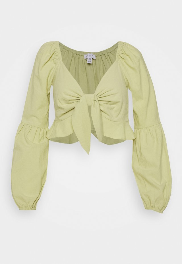 PUFF SLEEVE FRILL TOP - Bluzka - lime