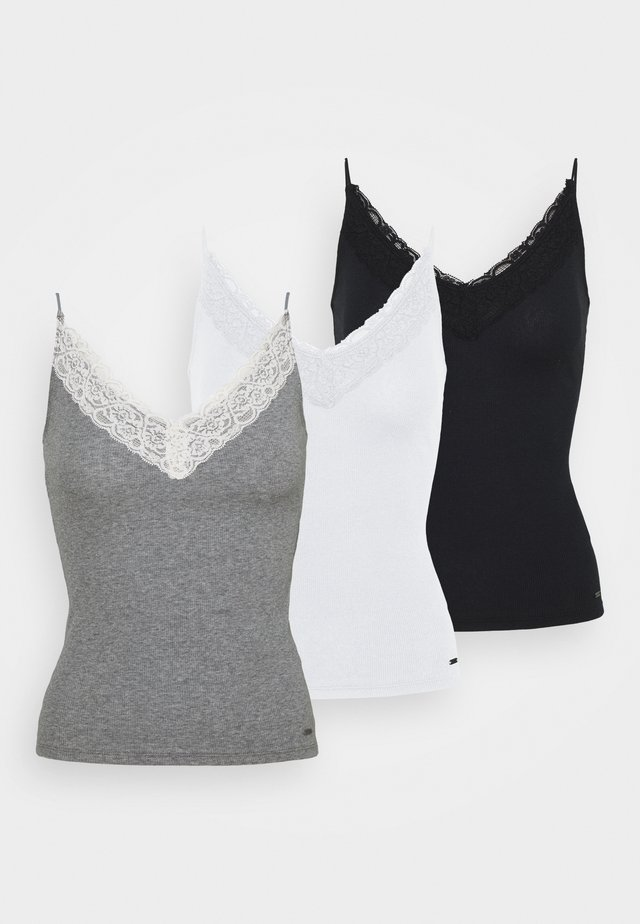 3 PACK - Top - white/grey/black