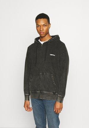 ACID WASH ZIP THRU HOOD - Sweater met rits - grey