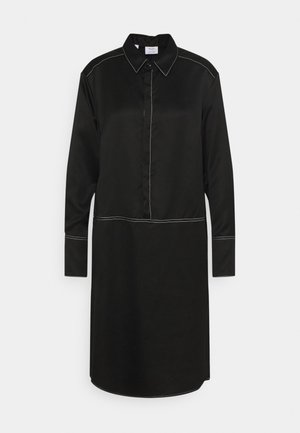 SHIRTDRESS CONCEALED BUTTON PLACKET COLLAR HIGH CUFFS  - Shirt dress - pure black