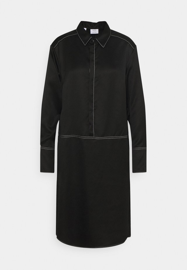 SHIRTDRESS CONCEALED BUTTON PLACKET COLLAR HIGH CUFFS  - Blousejurk - pure black