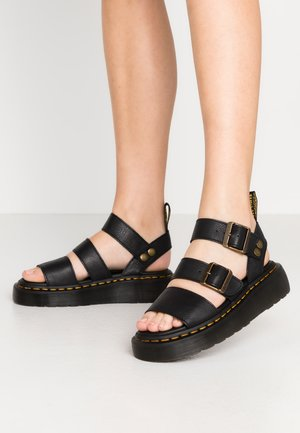 GRYPHON QUAD - Platform sandals - black pisa