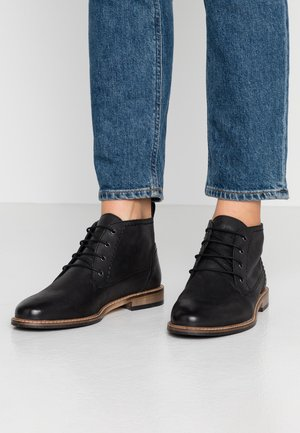 LEATHER BOOTIES - Lace-up ankle boots - black