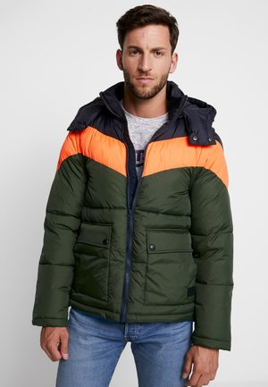 OUTERWEAR - Winter jacket - dark blue/olive/orange