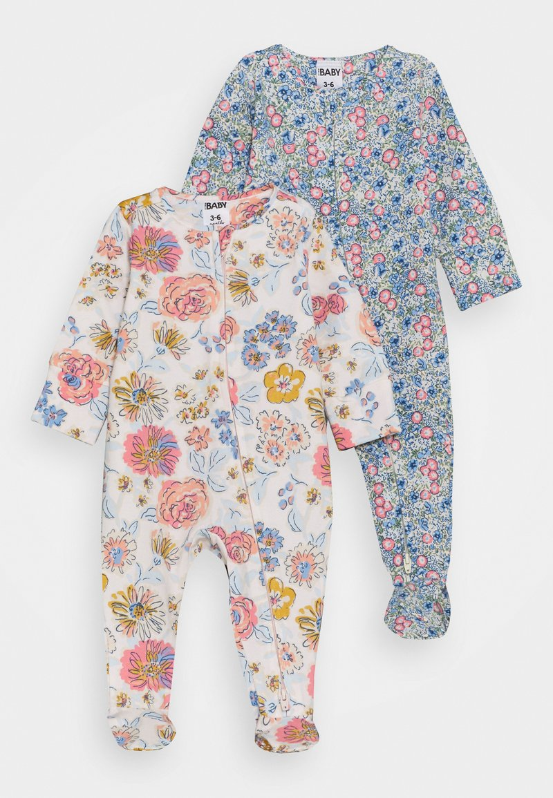 Cotton On - LONG SLEEVE ZIP ROMPER 2 PACK  - Dupačky na spaní - dusk blue annie/crystal pink matilda