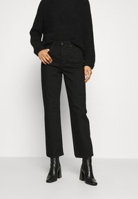 Selected Femme - SLFKATE STRAIGHT  - Straight leg jeans - black denim - 0