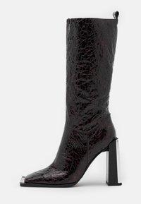 Topshop - TANGO LEG HARDWARE BOOT - High heeled boots - burgundy - 1