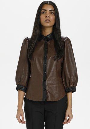 Button-down blouse - chestnut