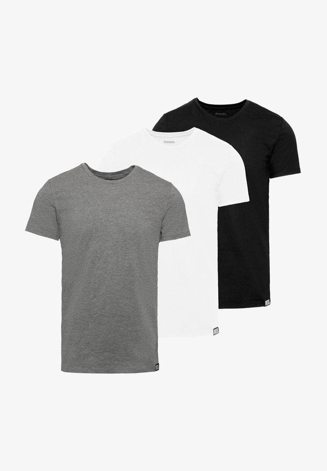 3 PACK - T-paita - black/white/grey