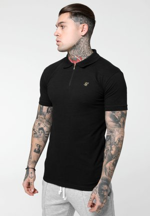 STRETCH FIT ZIP COLLAR - Koszulka polo - black