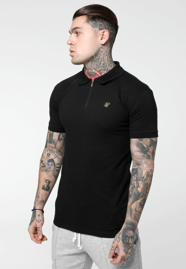 STRETCH FIT ZIP COLLAR - Polo - black