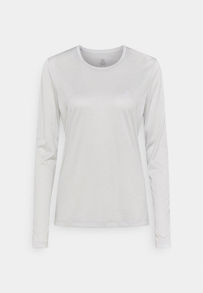 Salomon - AGILE TEE - Funktionsshirt - white/oyster mushroom heather