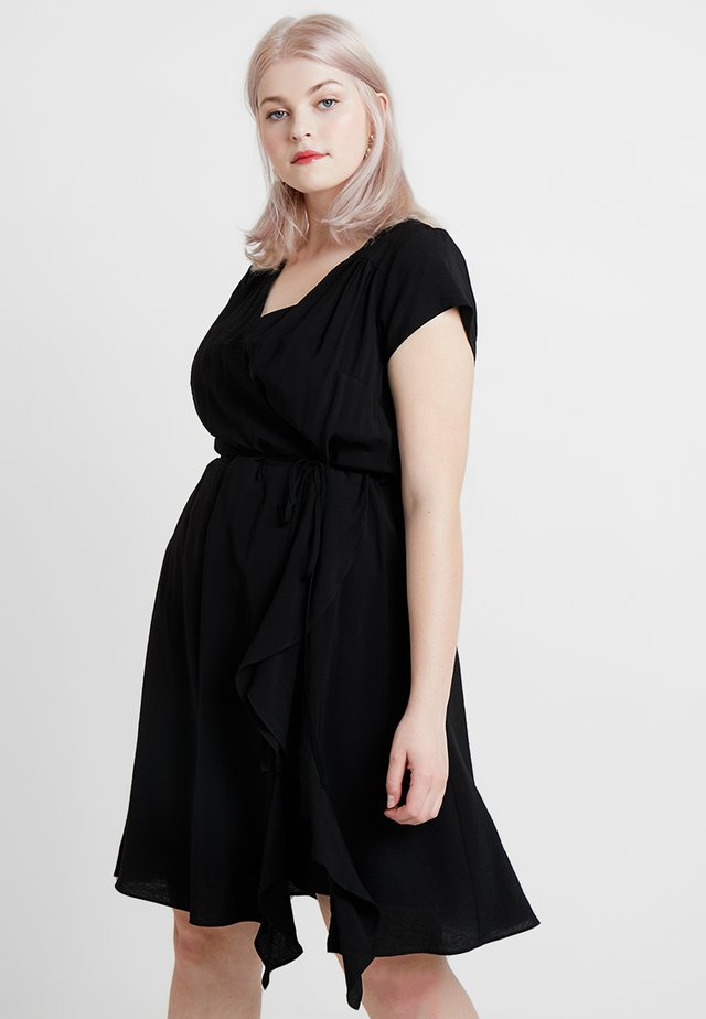 EXCLUSIVE DRESS RUFFLE - Korte jurk - black