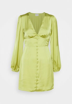 CARE BUTTON THROUGH MINI DRESSES WITH VOLUME LONG SLEEVES AND LO - Vestido de cóctel - olive green