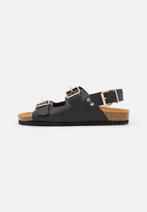 BUCKLE SLINGBACK FOOTBED - Sandals - black