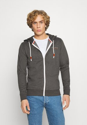 JORCLAYTON ZIP HOOD - veste en sweat zippée - dark grey melange