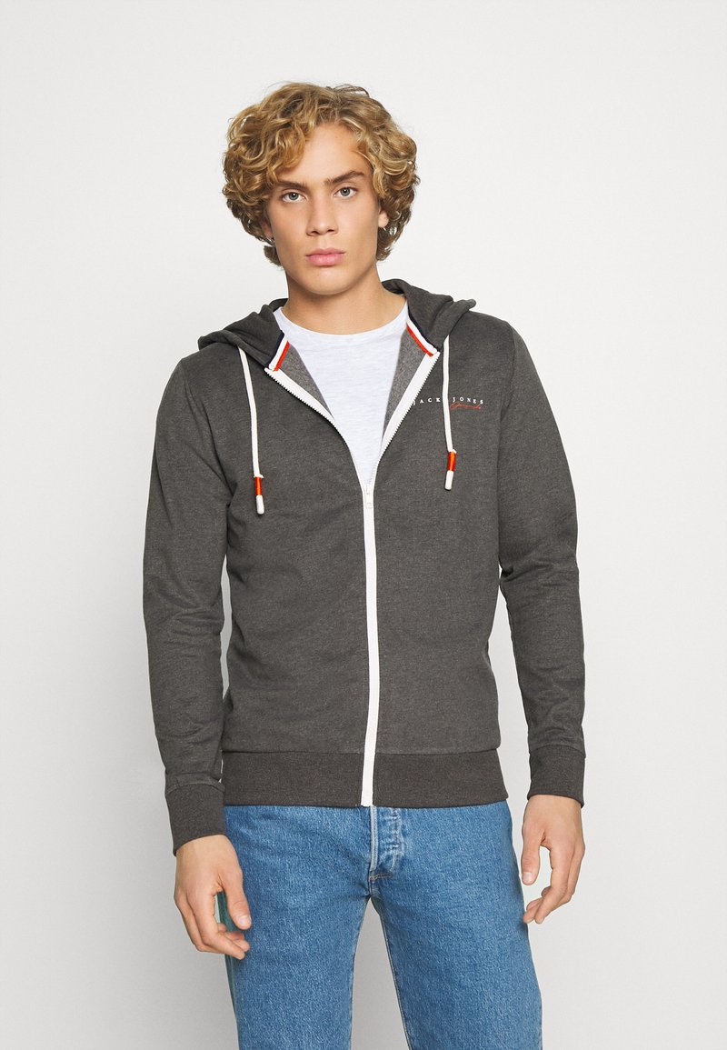 Jack & Jones - JORCLAYTON ZIP HOOD - veste en sweat zippée - dark grey melange