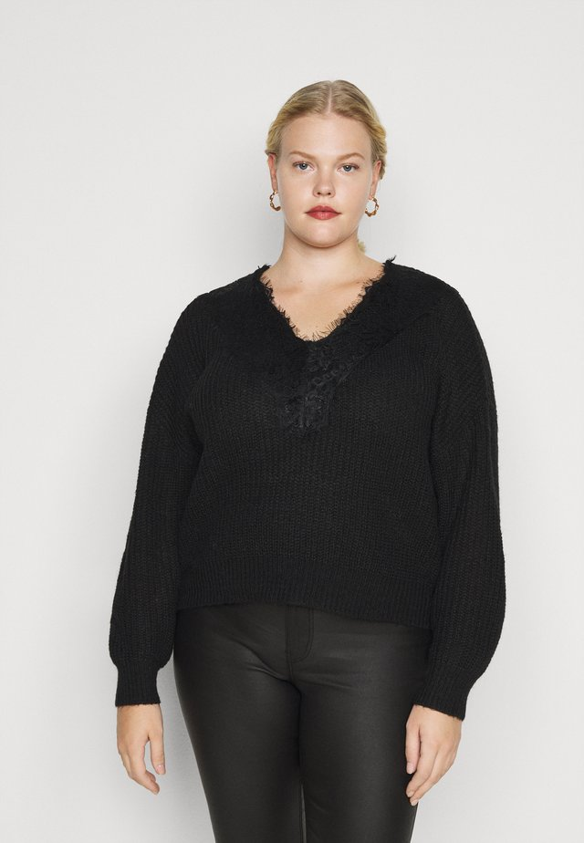 PCROLLY V NECK - Jumper - black