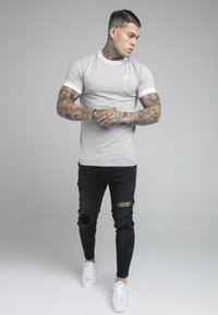 SIKSILK - ROLL SLEEVE TEE - T-shirt basic - grey/white - 1