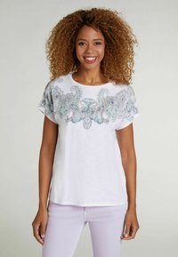 Oui - Print T-shirt - white green - 0