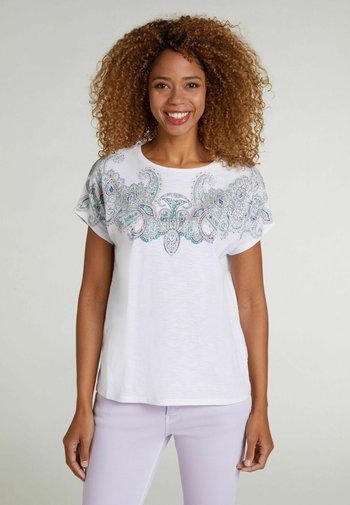 Print T-shirt - white green