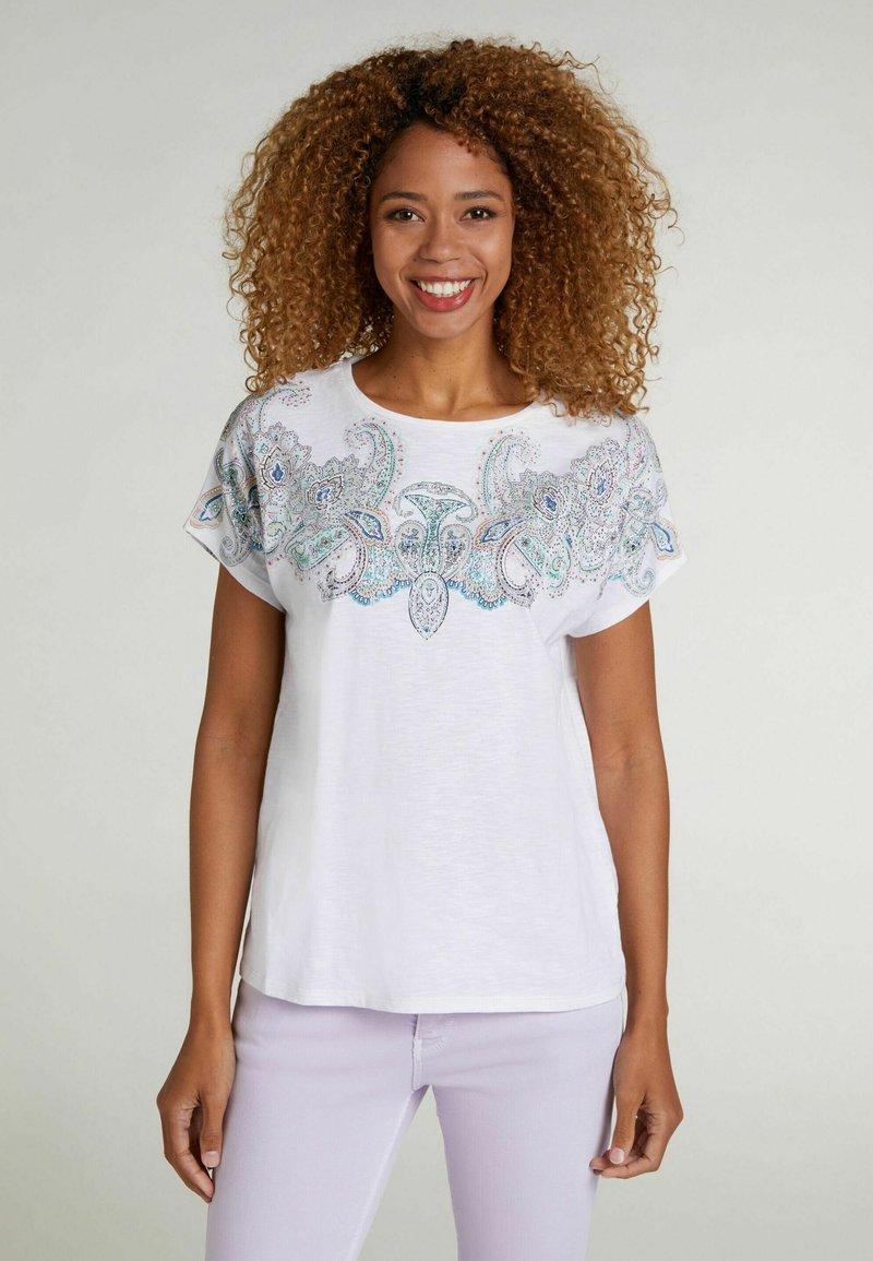 Oui - Print T-shirt - white green