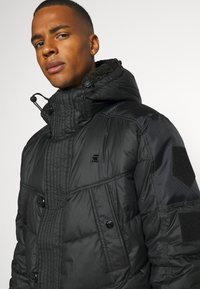 G-Star - UTILITY QUILTED EXTRA LONG PARKA - Winter coat - namic lite black - 4
