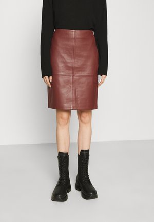 2ND CECILIA - Leather skirt - hot chocolate