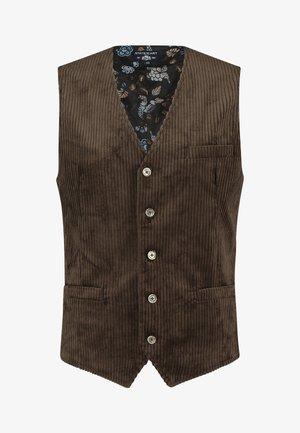 Waistcoat - dark-brown plain