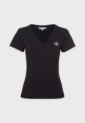 MONOGRAM SLIM V-NECK TEE - T-shirts - black