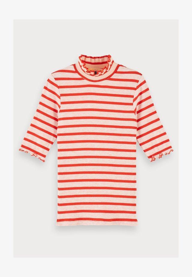 Cotton-blend high neck ¾ sleeve t-shirt - Jumper - combo a