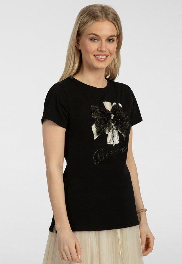 T-shirt imprimé - black/apricot