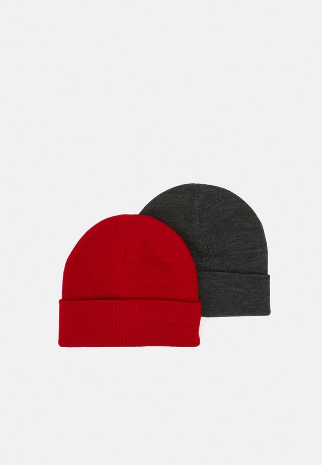 VMMARAN BEANIE 2 PACK - Muts - dark grey melange/chinese red