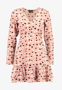 RUFFLE HEM MINI TEA DRESS - Hverdagskjoler - pink