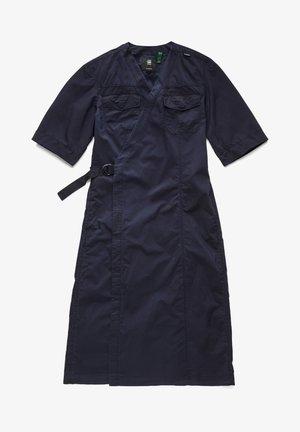 V NECK MIDI WRAP - Robe en jean - blue denim