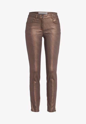 Slim fit jeans - shiny cognac