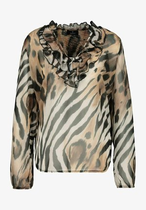 Blouse - brown,off-white