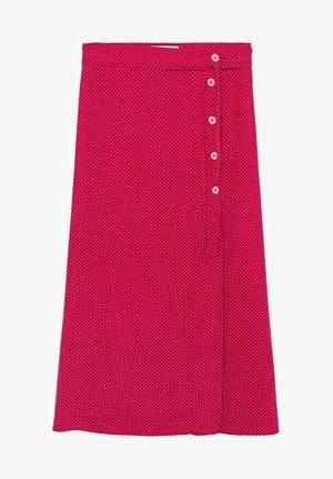 JUPE MIDI POIS - A-line skirt - fraise