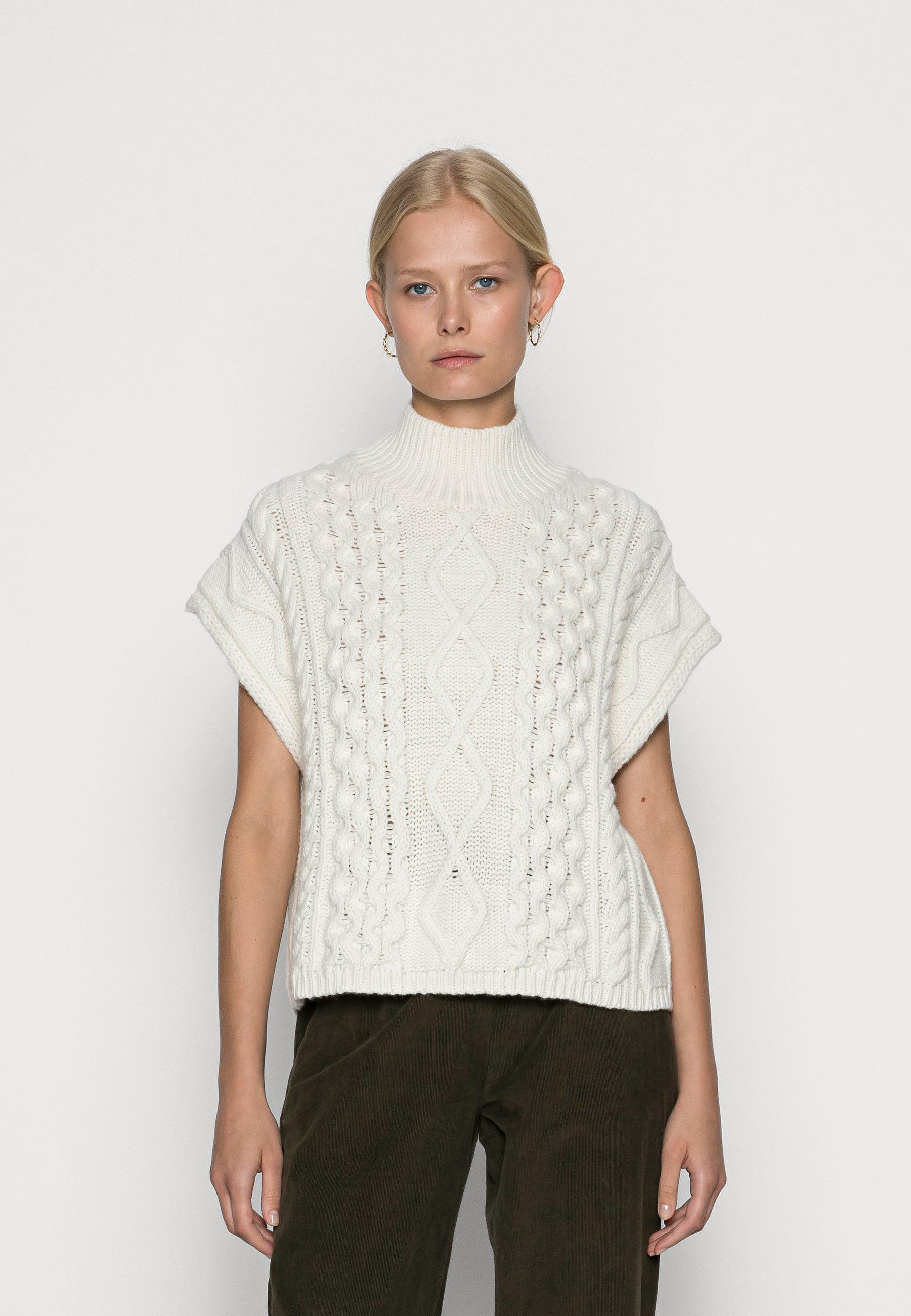 Mujer BUTTON UP VEST WITH CABLE STRUCTURE - Jersey de punto